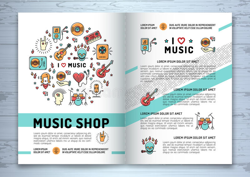 Music Brochure, Modern Icons Line Art Style, Mock-up Cover Stock
