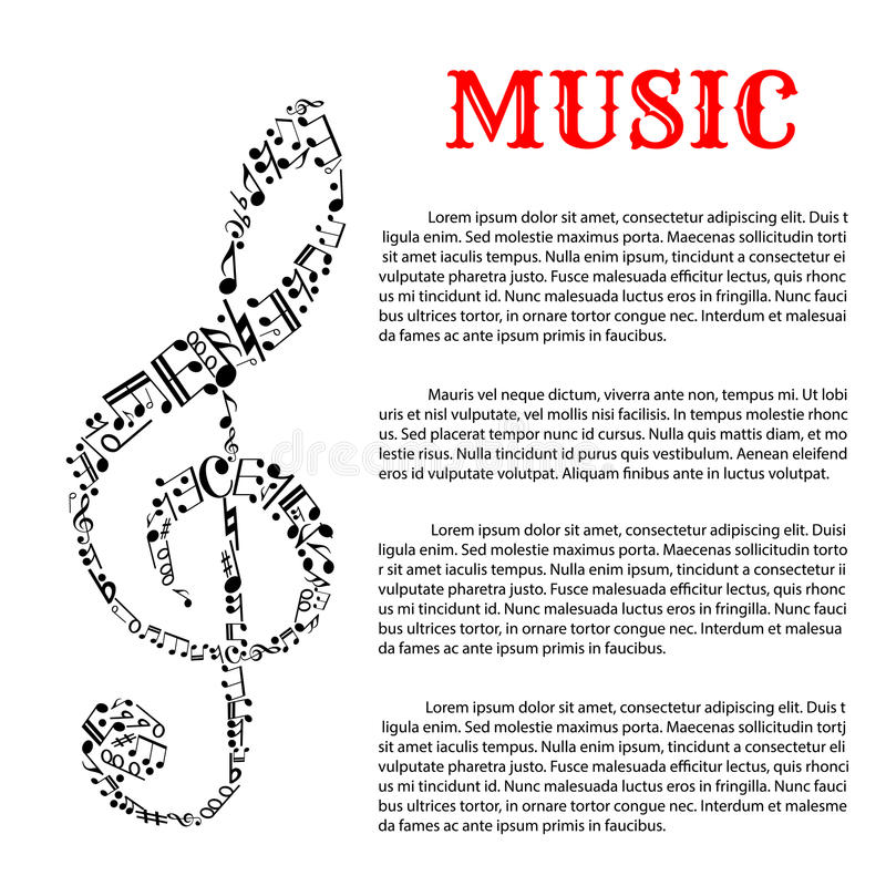 Music Infographic Template With Treble Clef Stock Vector - treble clef template