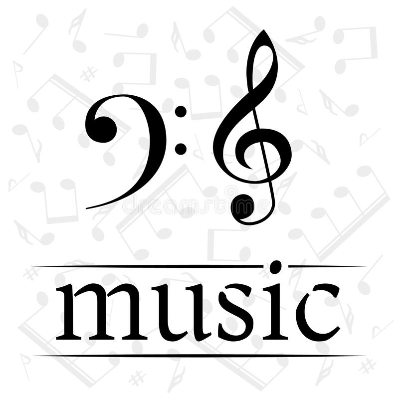 Music Poster With Treble And Bass Clef Stock Illustration - clef music