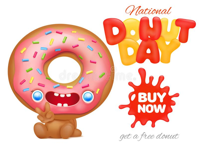 National Donut Day Holiday Ad Poster Template Stock Illustration - donut template