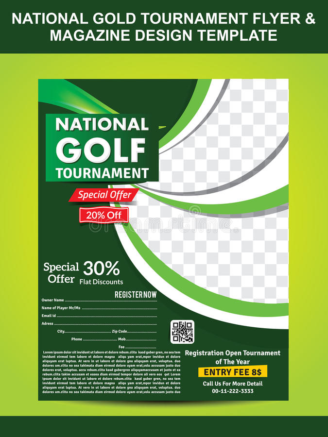 National Gold Golf Flyer Template Stock Vector - Illustration of