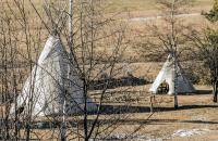 Native American Tents In The Field Stock Photo - Image ...