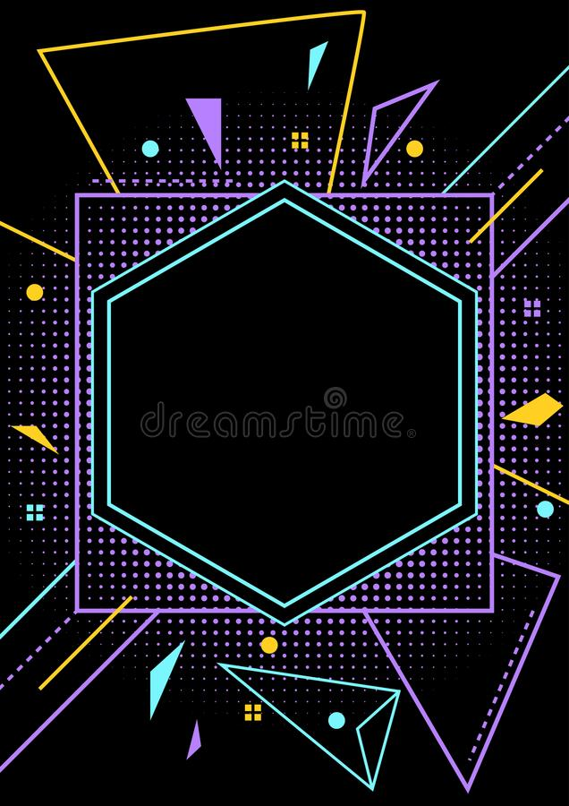 Neon Style Blank Party Flyer Layout Stock Vector - Illustration of
