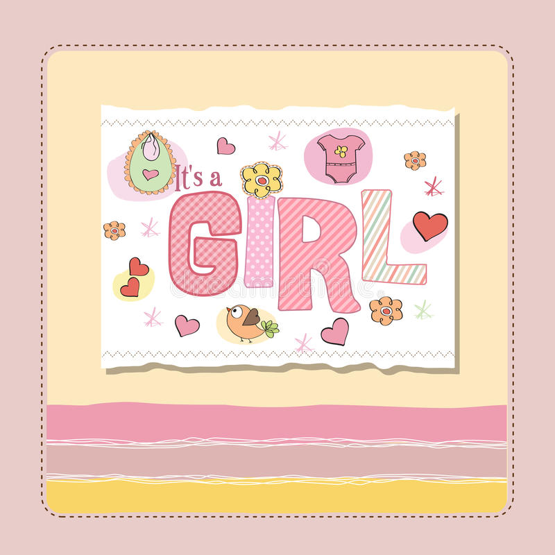 New Baby Girl Announcement Card Stock Vector - Illustration of