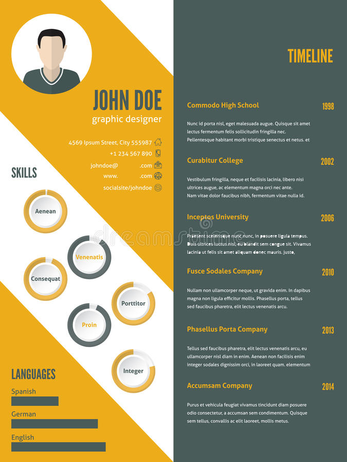 New Modern Resume Cv Template With Photo Stock Vector - Illustration - Resume/cv Template