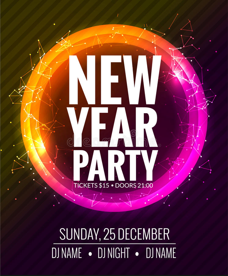 New Year Party And Christmas Party Poster Template Design Disco - new year poster template
