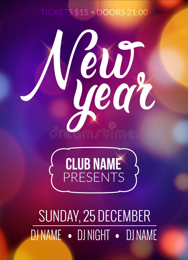 New Year Party Design Banner Event Celebration Flyer Template Bokeh - new year poster template