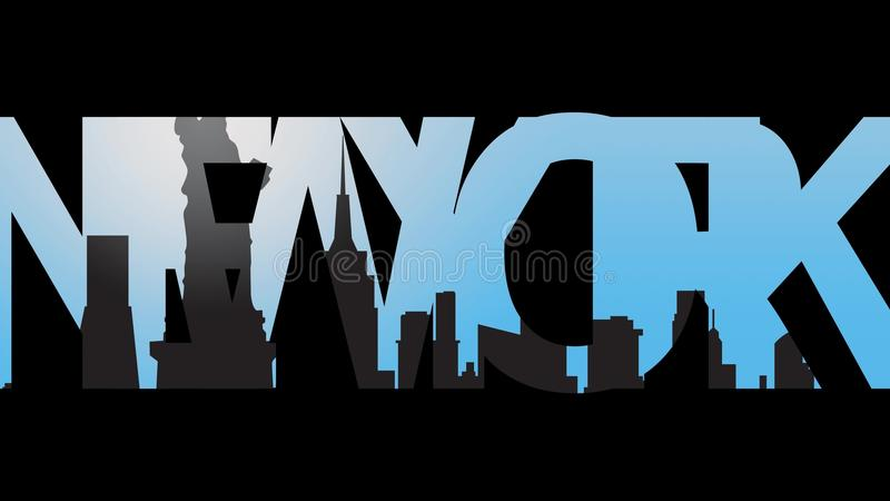 New York Caption And New York Skyline Silhouette 4K Intro Animation - animation title