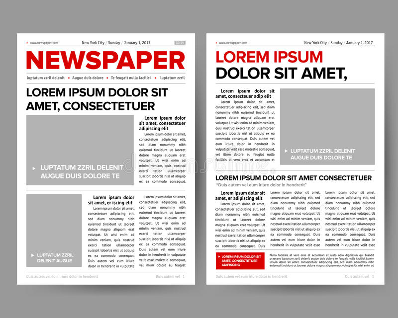 Daily Newspaper Journal Design Template With Two-page Opening - newspaper headline template