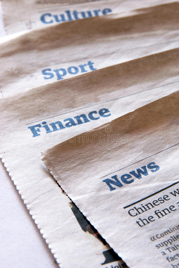 Newspaper sections stock image Image of business, communications