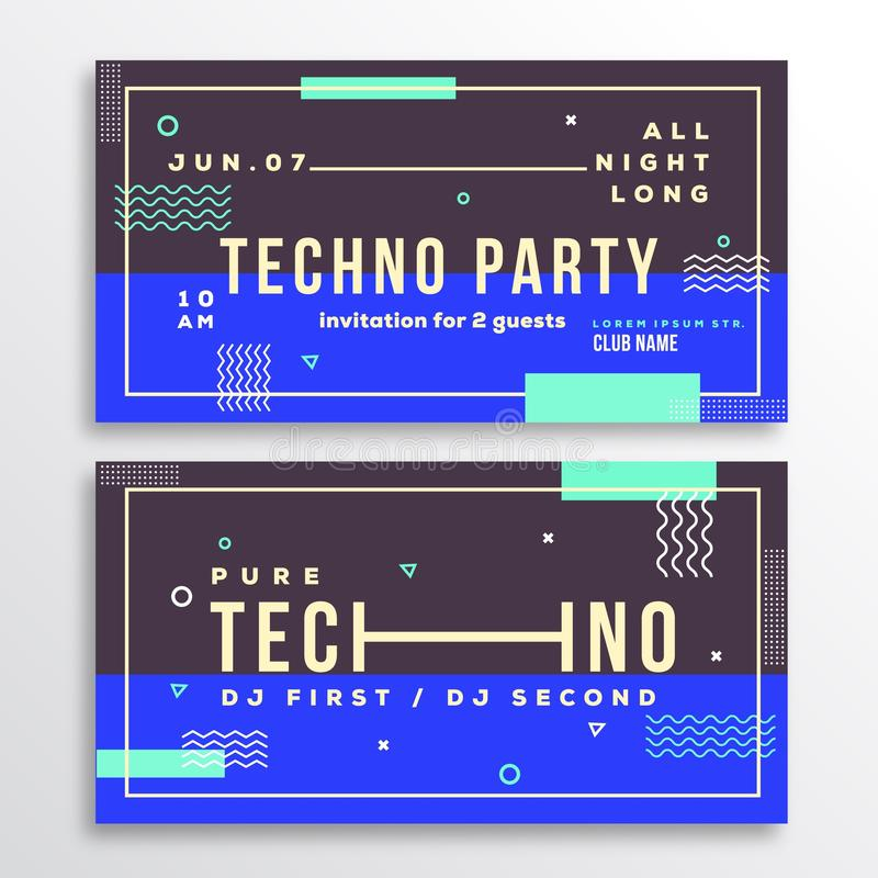 Night Techno Party Club Invitation Card Or Flyer Template Stock