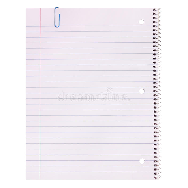 Notebook Paper Isolated Lined Blank Stock Image - Image of clip