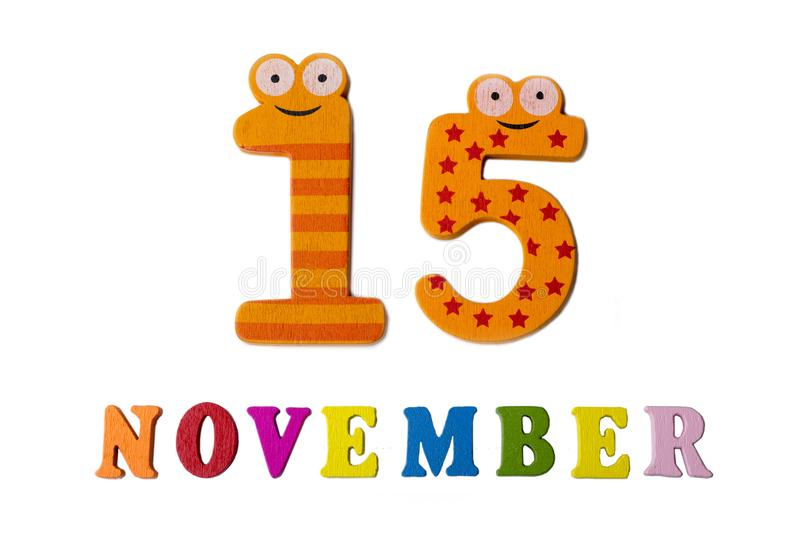 November 15 On White Background, Numbers And Letters Stock