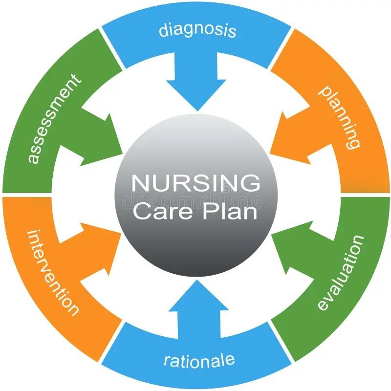 Nursing Care Plan Word Circle Concept Stock Illustration