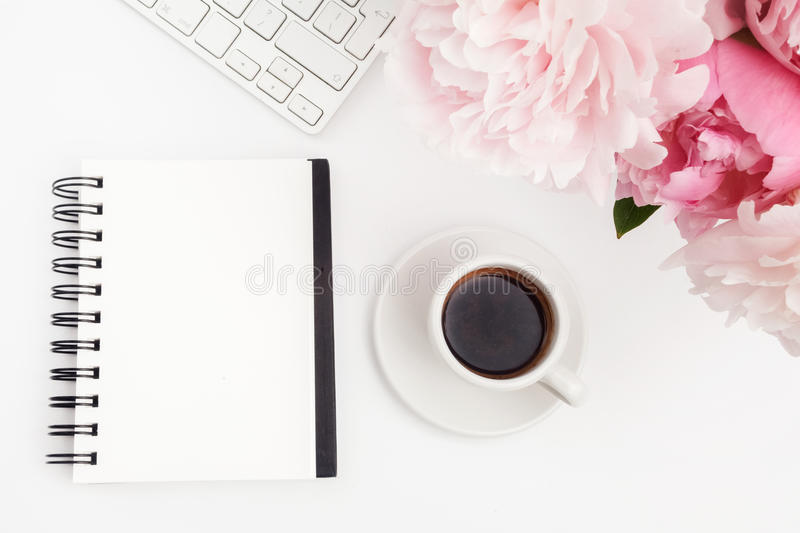 Free Fall Wallpaper For Computer Office Desk Table With Computer Cup Of Coffee And Peony