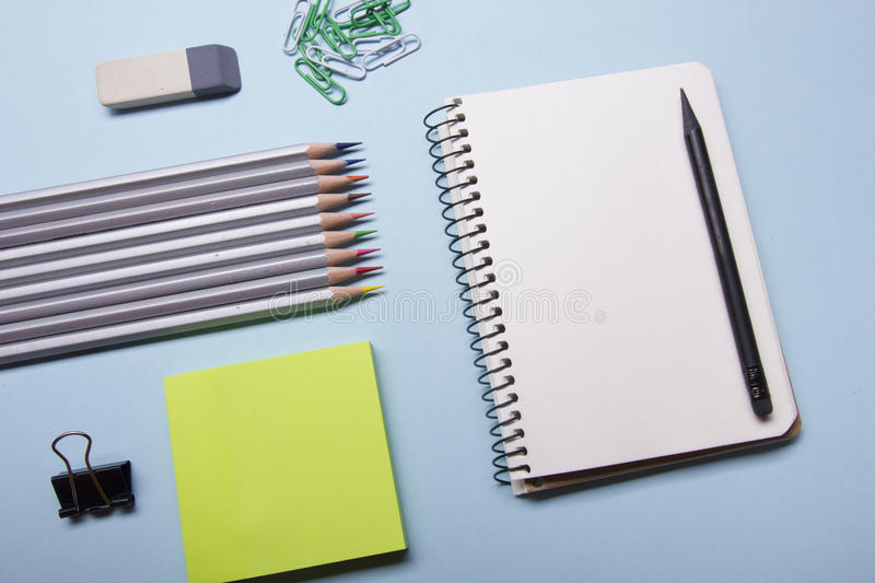 Office Desk Table With Supplies Top View Notepad, Pen And Colorful - meeting note pad