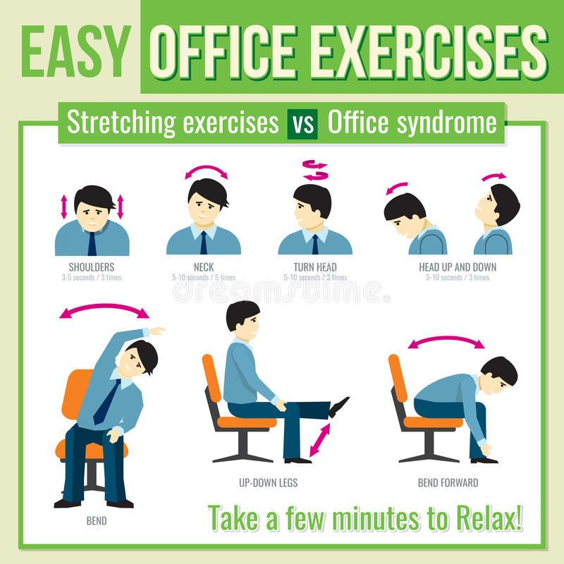 Office Exercises With Businessman Character Vector Infographic - office exercise