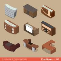 Office Reception Table Room Flat Vector Isometric ...