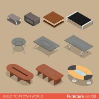 Office Table Set: Flat Vector Isometric Furniture Stock ...