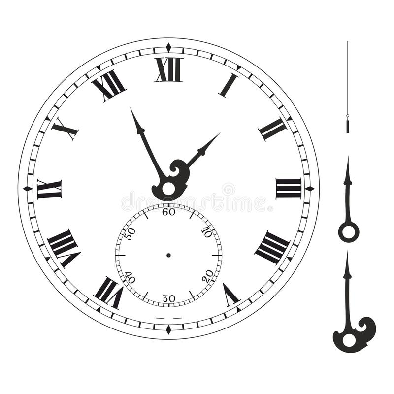 Old Elegant Clock Face Template With Numerals And Arrows Stock - clock face template