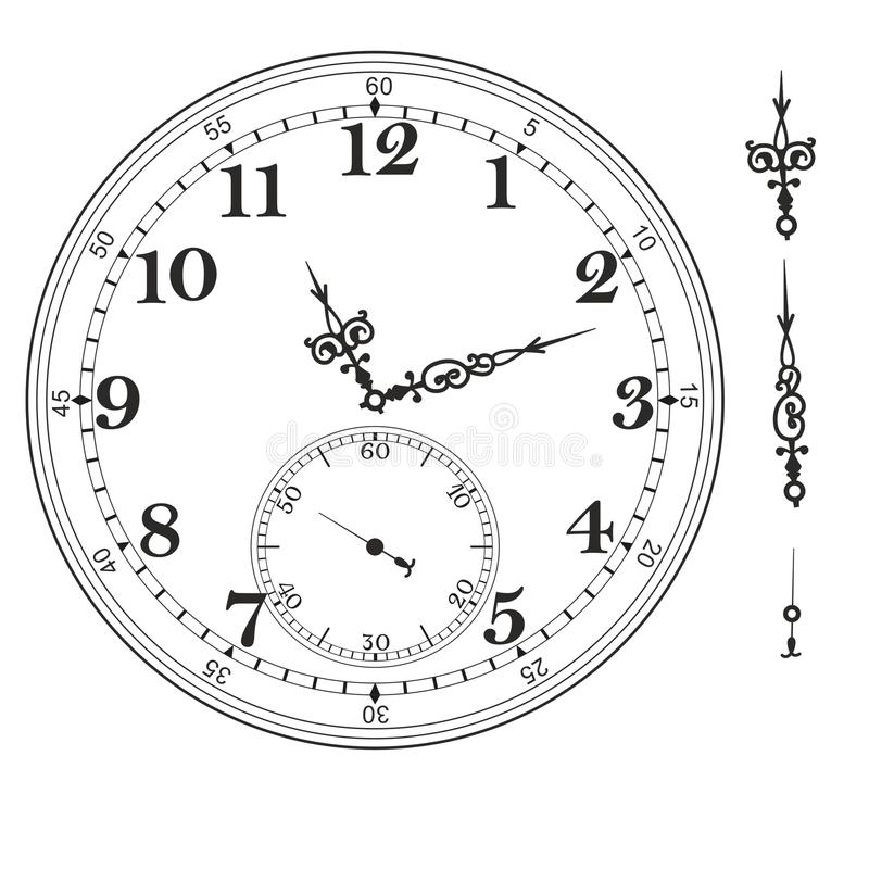 Old Elegant Clock Face Template With Numerals And Arrows Stock