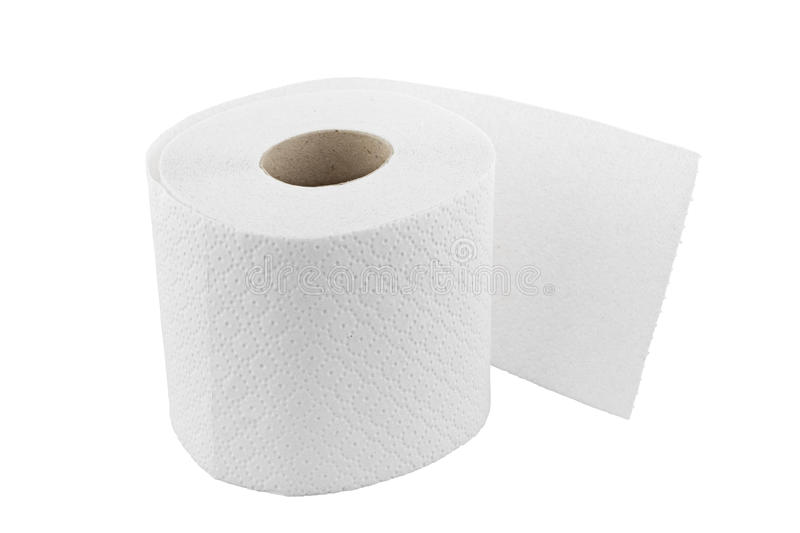 One Roll Of Toilet Paper Isolated On White Stock Image - Wc Papier Ungebleicht
