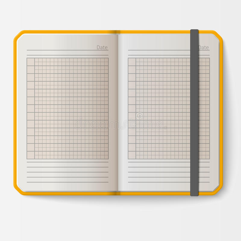 Open Realistic Notebook With Pages Diary Office Sheet Template - diary paper template