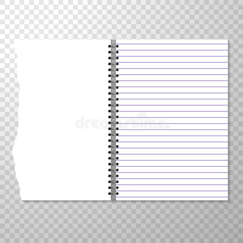 Opened Notebook Template With Lined And Blank Page Torn Piece Of - lined template