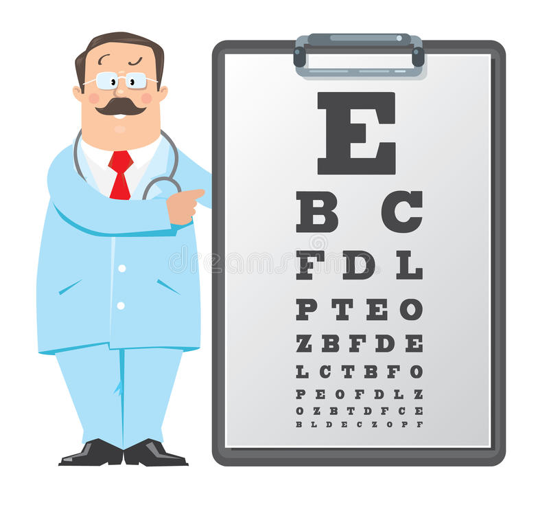 Optician Doctor With Snellen Eye Chart Doctor Stock Vector - eye chart template
