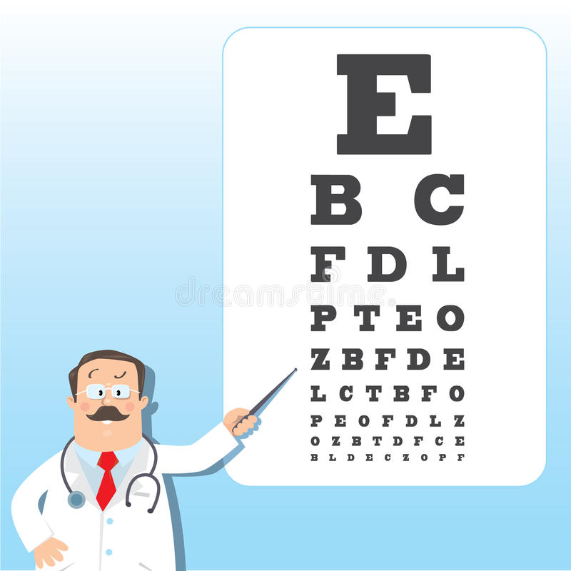 Optician Doctor With Snellen Eye Chart Doctor Stock Vector - eye chart template