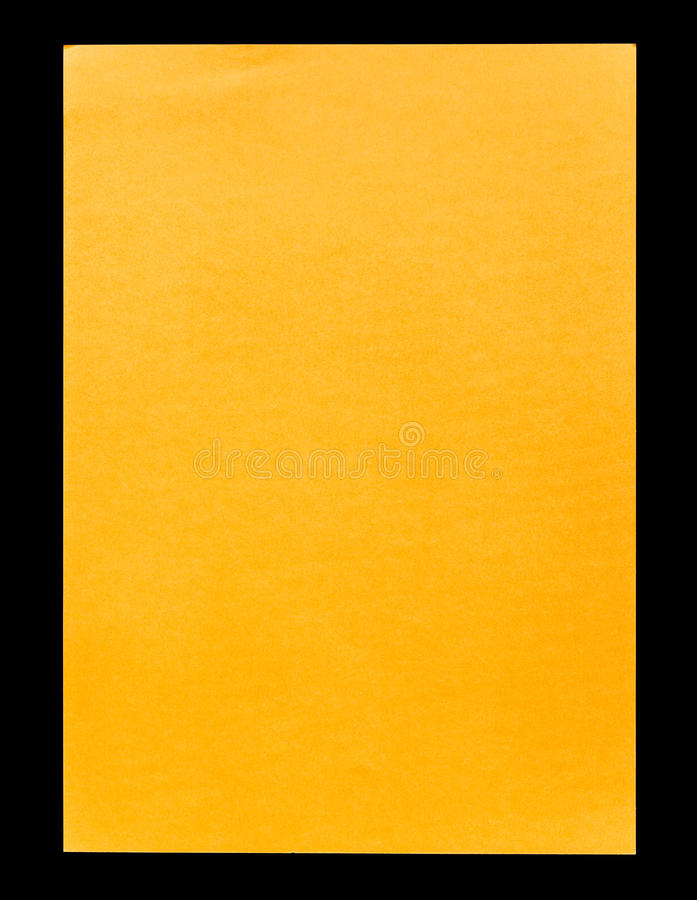 Orange Empty A4 Paper Isolated On Black Stock Image - Image of - loose leaf paper background