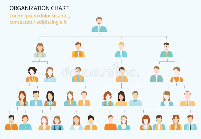 Organizational Chart Corporate Business Hierarchy Stock Vector