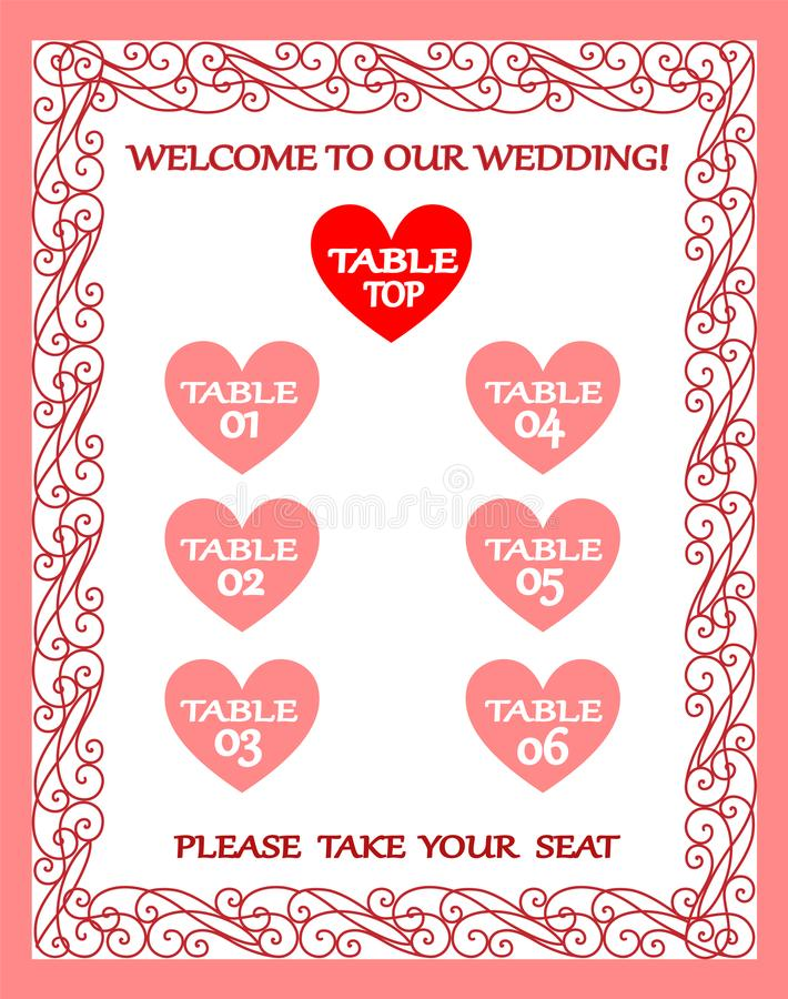 Wedding Table Chart, Seating Plan, Vintage Frame Stock Vector