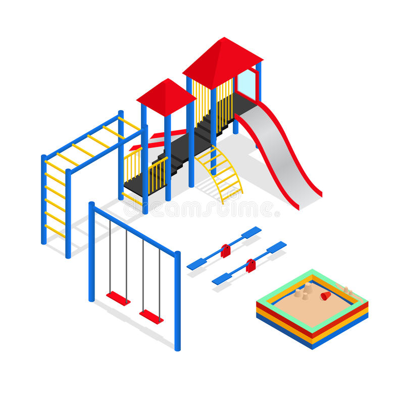 Outdoor Playground Elements Set Isometric View Vector Stock Vector - isometric view