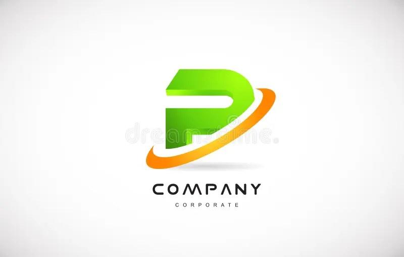 P Company Logo Green Letter Alphabet 3d Design Template Stock Vector