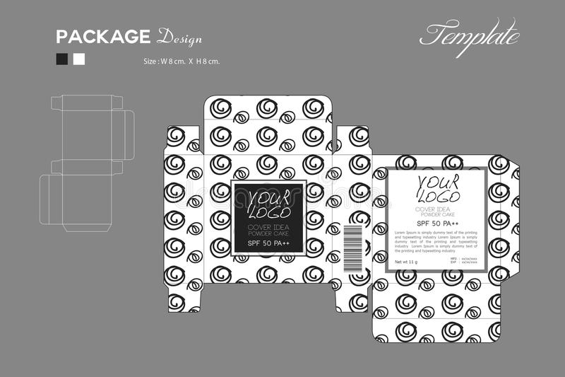 Package Puff Powder Skin Color, Box Outline, Black And White Stock - Flyer Outline