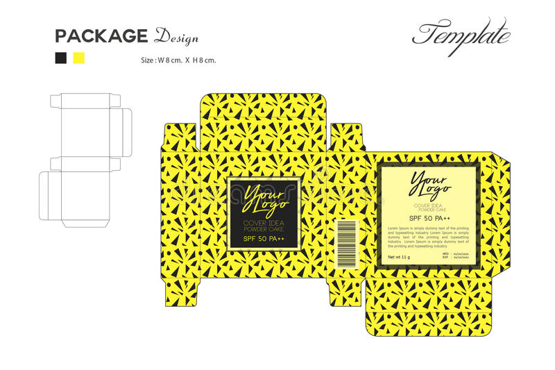 Package Puff Powder Skin Color, Box Outline, Yellow Background Stock - Flyer Outline