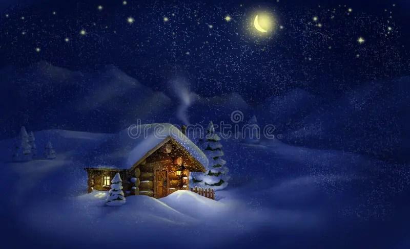 3d Snowy Cottage Animated Wallpaper Windows 7 Paesaggio Di Notte Di Natale Capanna Neve Pini Luna E