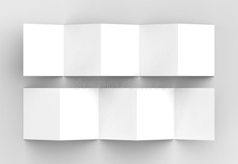 10 Page Leaflet, 5 Panel Accordion Fold Square Brochure Mock Up - accordion fold brochure