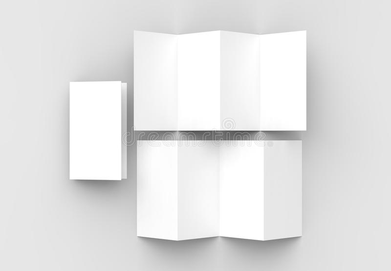 8 Page Leaflet, 4 Panel Accordion Fold Vertical Brochure Mock Up - accordion fold brochure