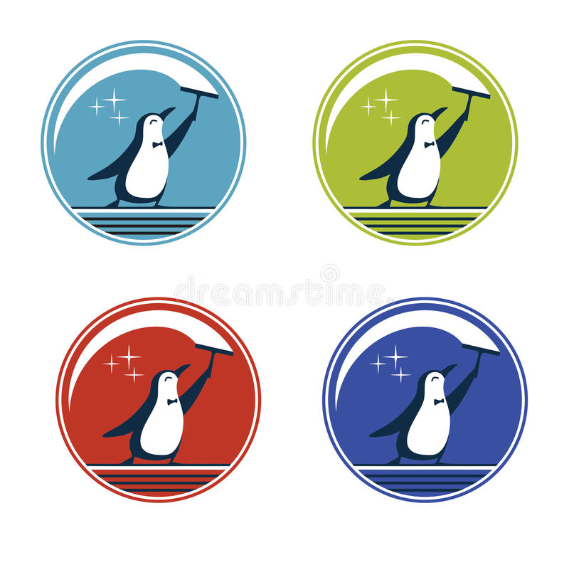 Painting Penguin Design Template Stock Vector - Illustration of