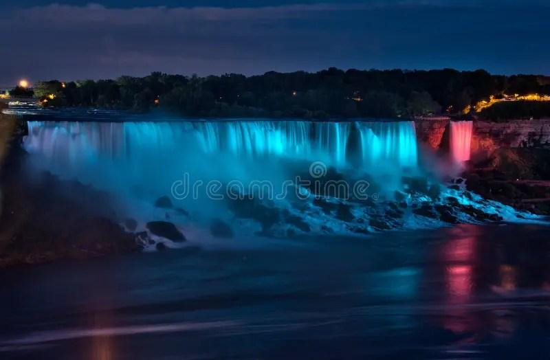 Niagara Falls Hd 1080p Wallpapers Panorama Di Notte Di Cascate Del Niagara Immagine Stock