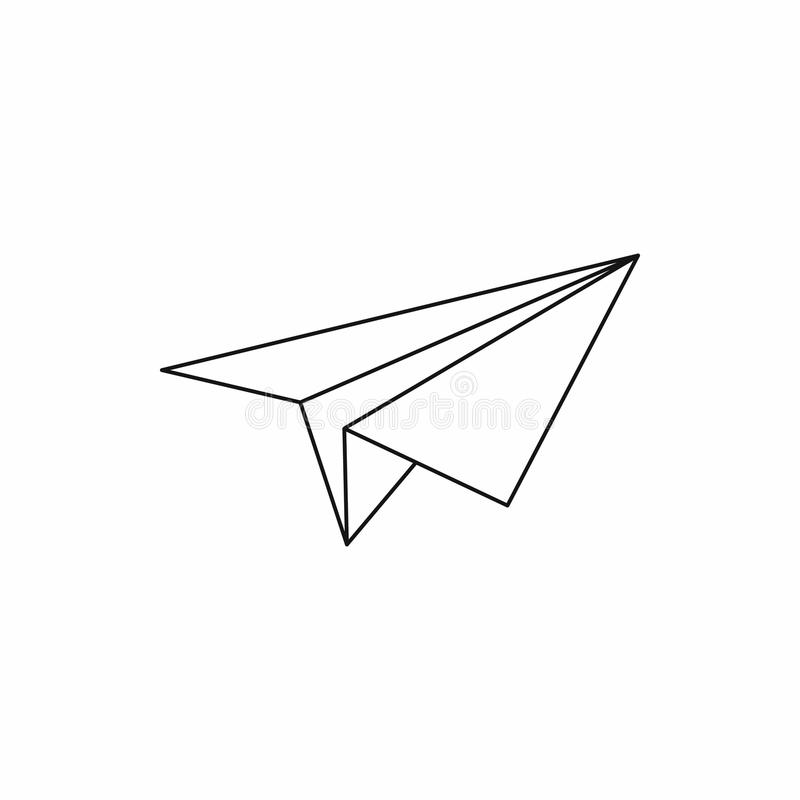 Paper Plane Icon, Outline Style Stock Vector - Illustration of