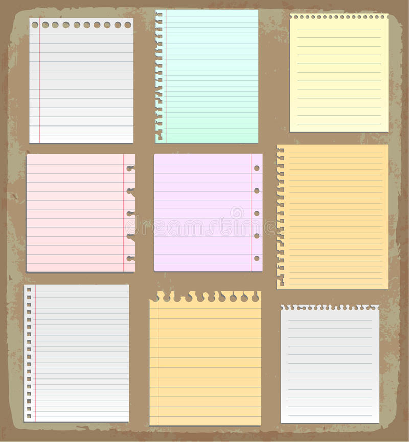 Paper Sheets, Lined Paper And Note Paper Stock Vector - Illustration - color lined paper