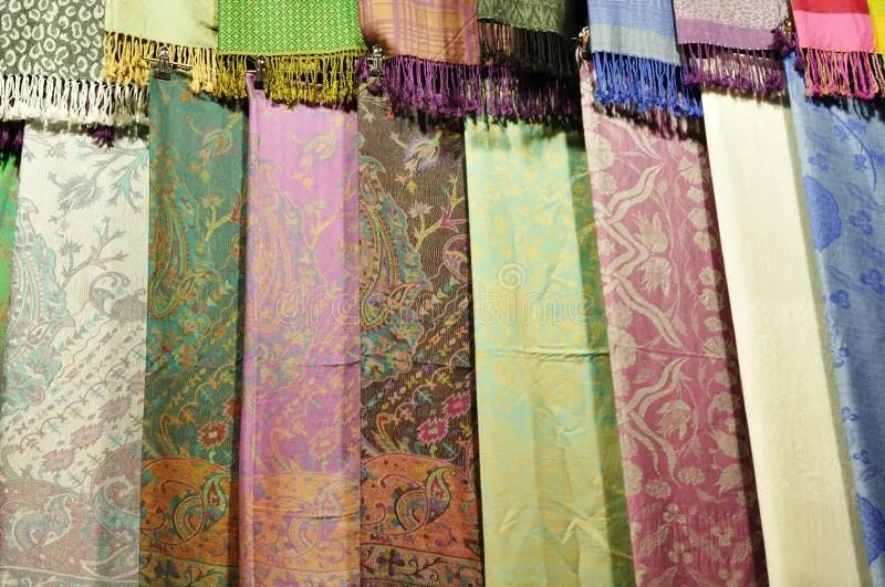 Pashmina and silk scarfs stock photo. Image of fabric
