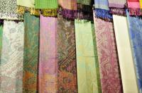 Pashmina and silk scarfs stock photo. Image of fabric