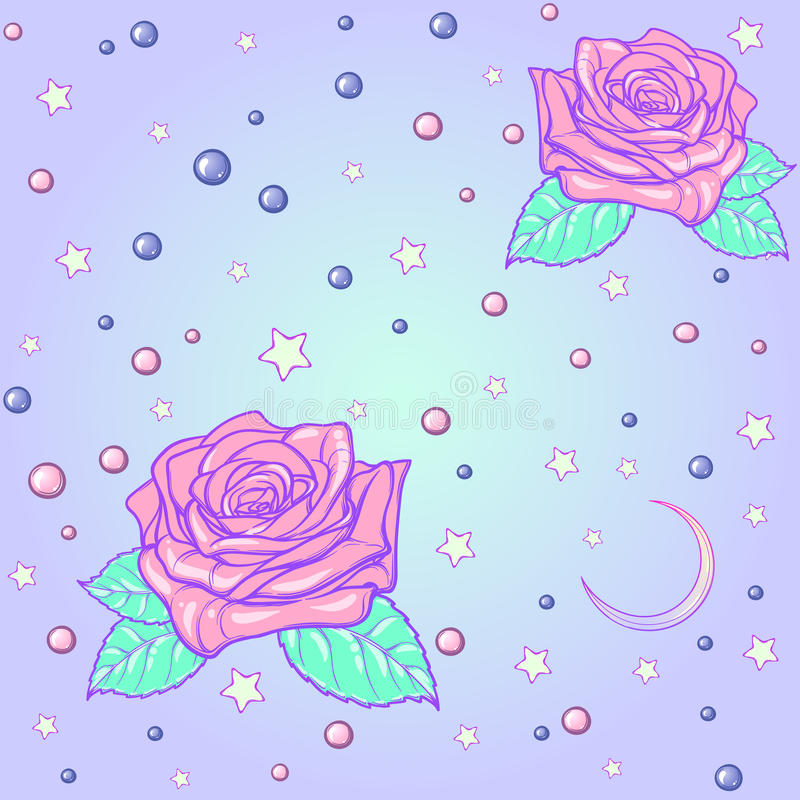 Cute Girly Pattern Wallpapers Pastel Goth Moon And Roses Seamless Pattern Stock Vector