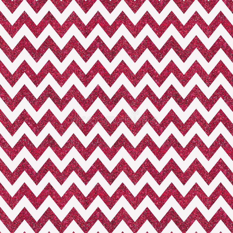 Pattern With Red Glitter Textured Chevron On White Background Stock
