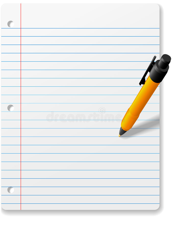 Pen Writing Drawing On Notebook Paper Background Stock Vector - notebook paper download