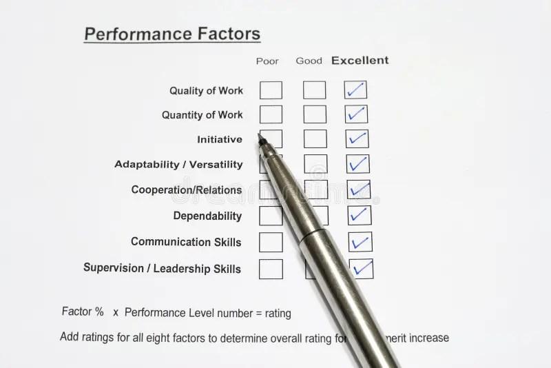 Performance Evaluation Form Stock Photo - Image of bonus, resources - performance evaluation form